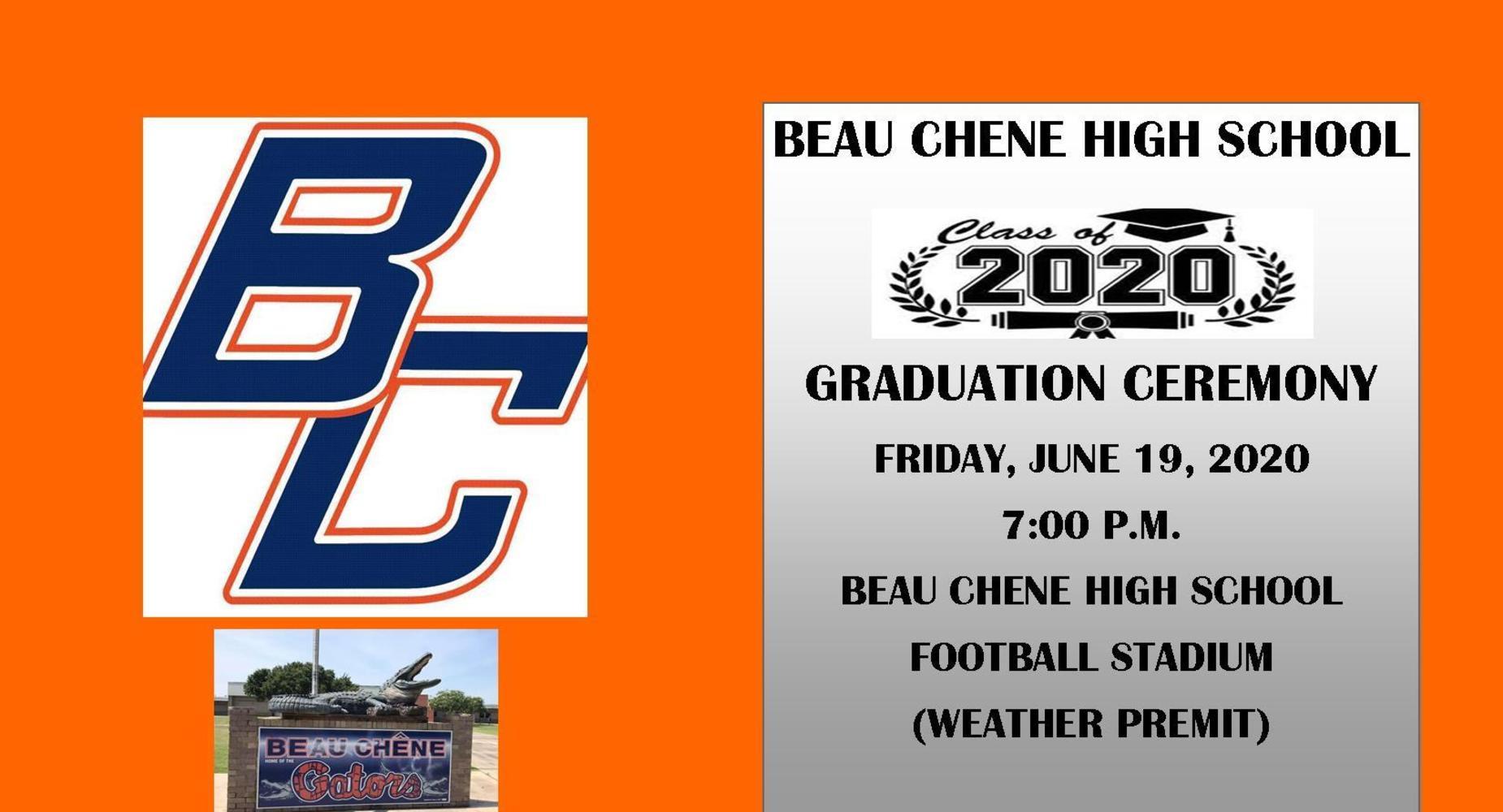 BCHS Graduation Announcement -Class of 2020 - Football Stadium - June 19,2020 (weather permits)