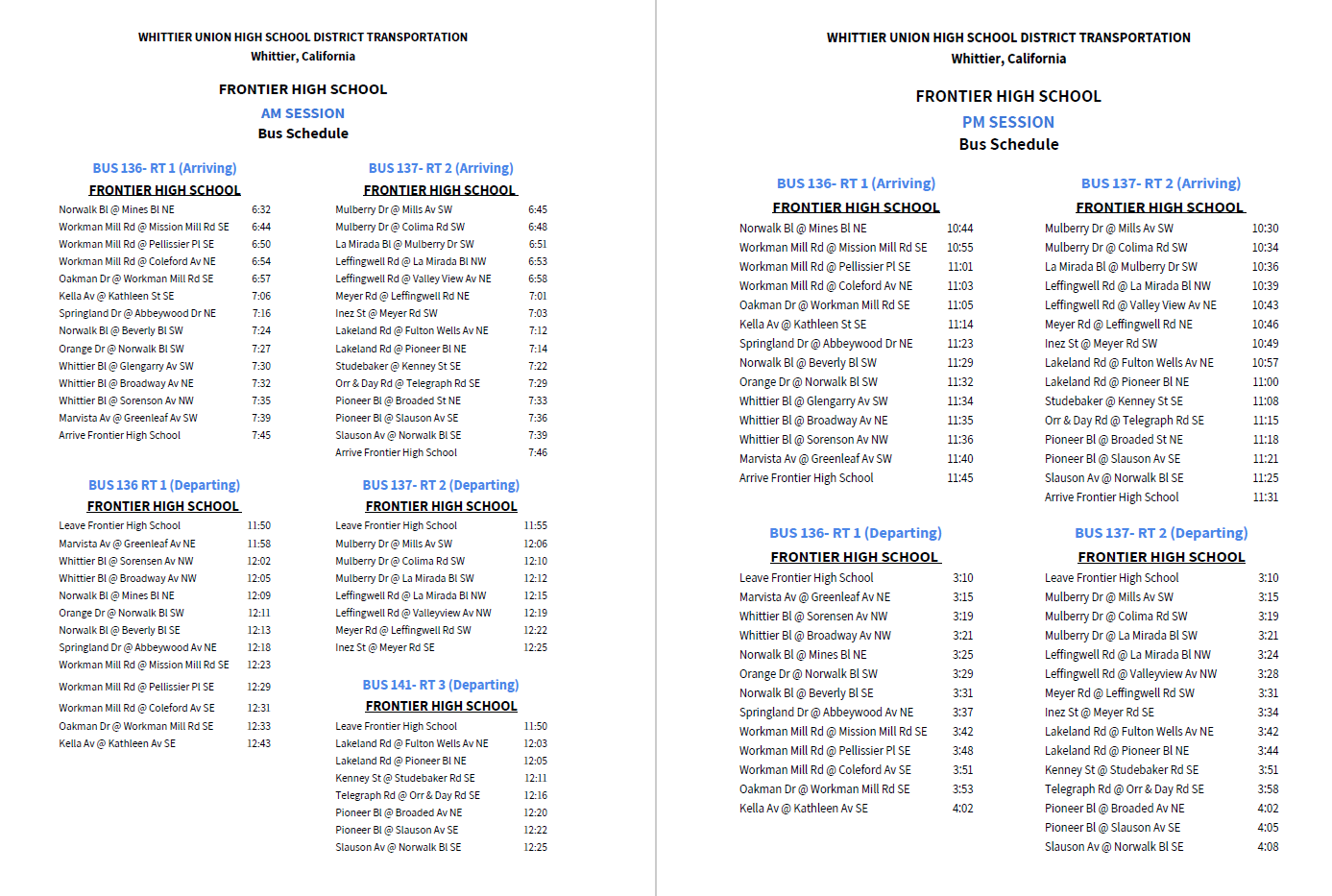 Bus Schedule 2019-2020
