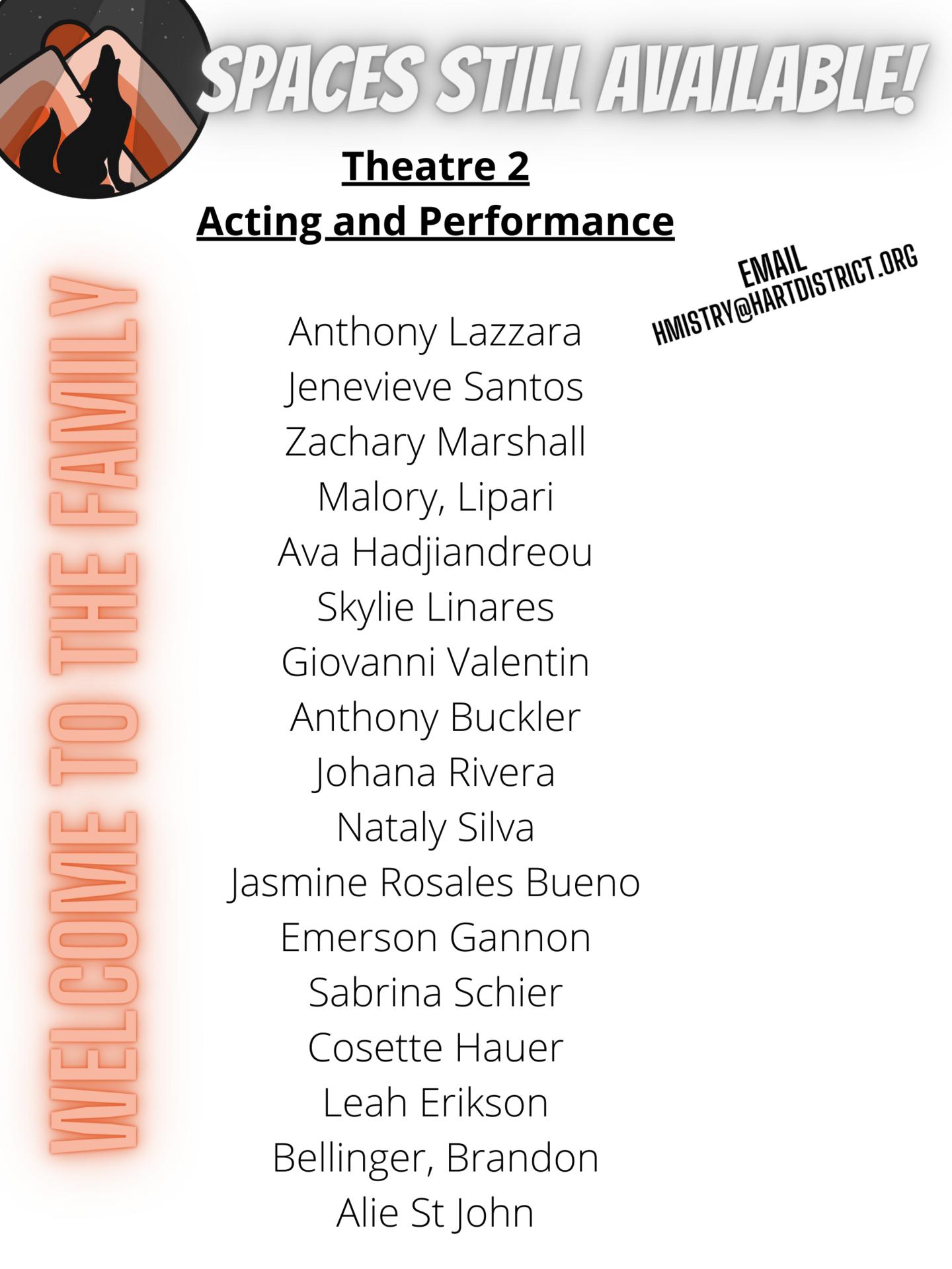 theatre 2 class list 202122