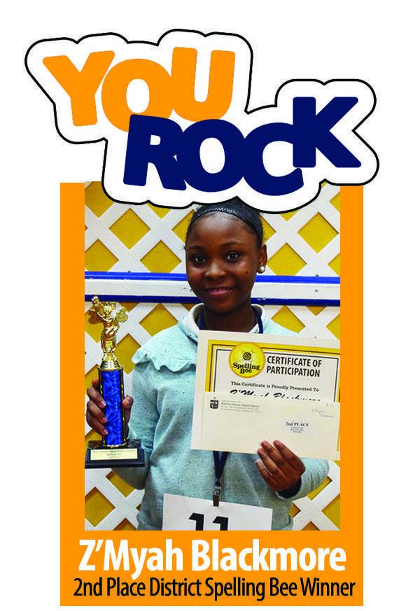 Z'Myah Blackmore 2nd Place District Spelling Bee Winner
