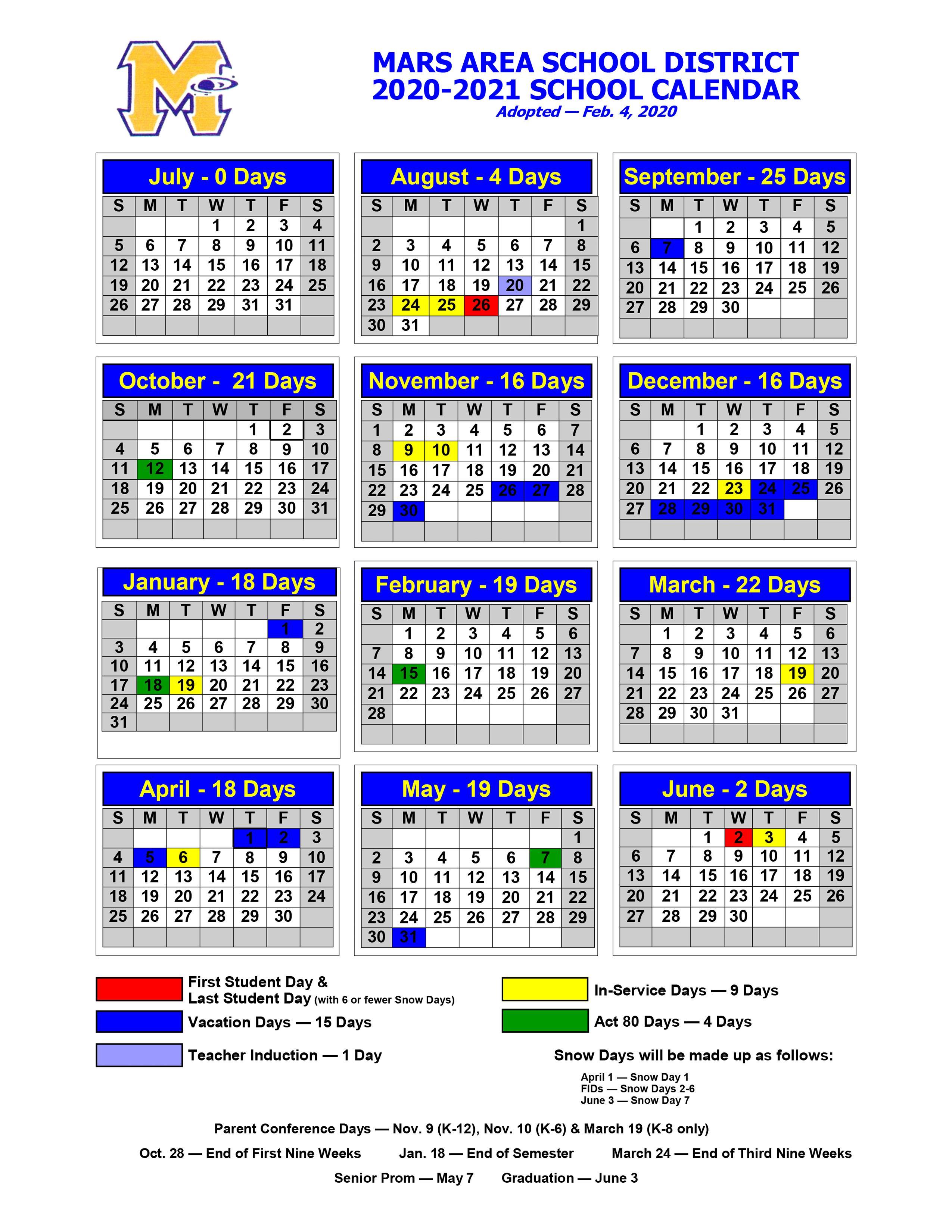 Butler Area School District Calendar 2021-22