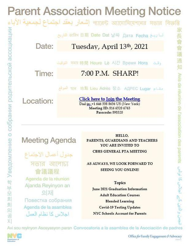 April PTA  meeting invitation flyer