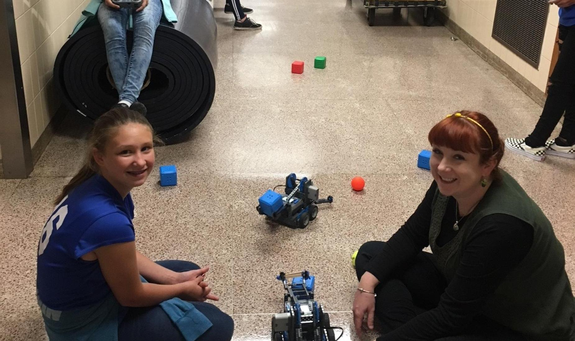 Snyder Middle School STEM students building and programming their Vex Bots.