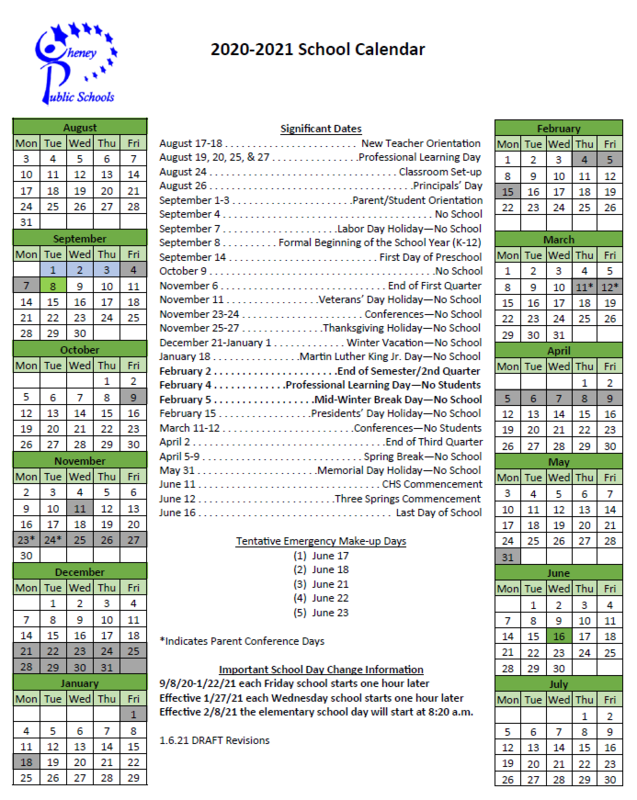 2020-2021 School Calendar - Adopted 1/14/2021 Thumbnail Image