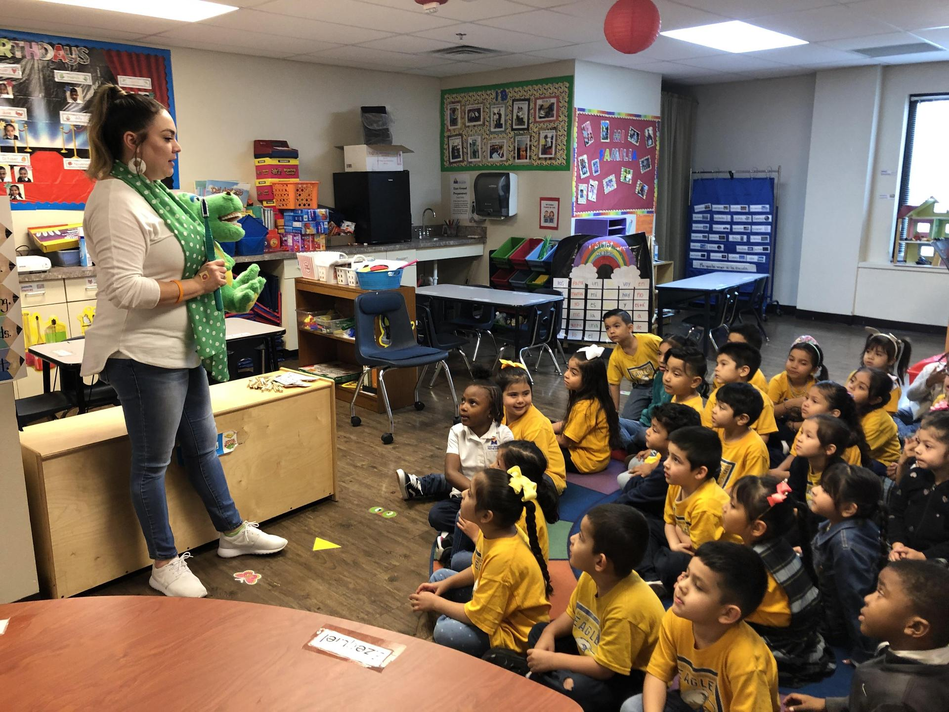 PreK students learning about dental health
