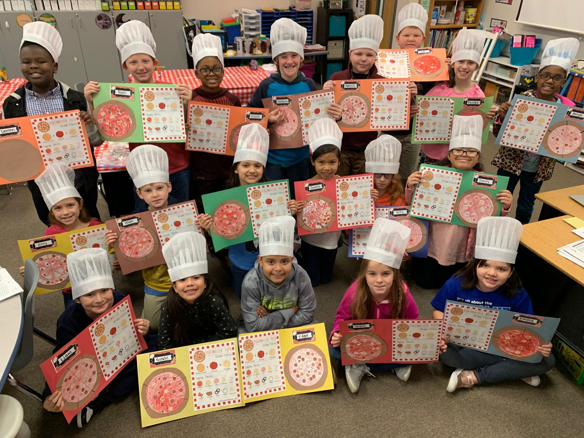 Jessica Joergensen recently transformed her third grade classroom into a Chef Academy. Students learned factions by preparing fraction pizzas and comparing fraction topping.