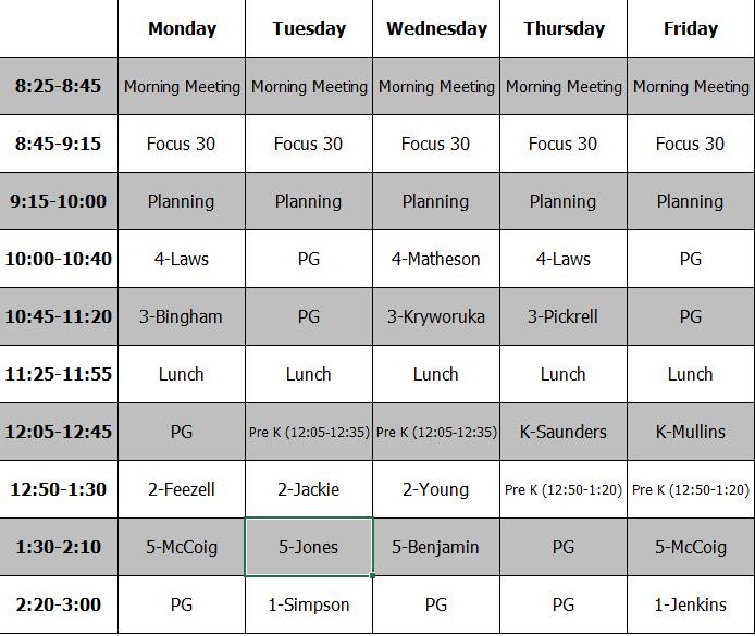 PE Schedule (2019-2020)