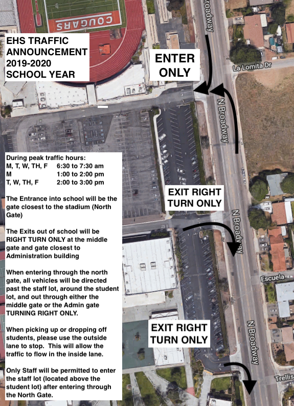 2019-2020 announcement to change EHS traffic pattern