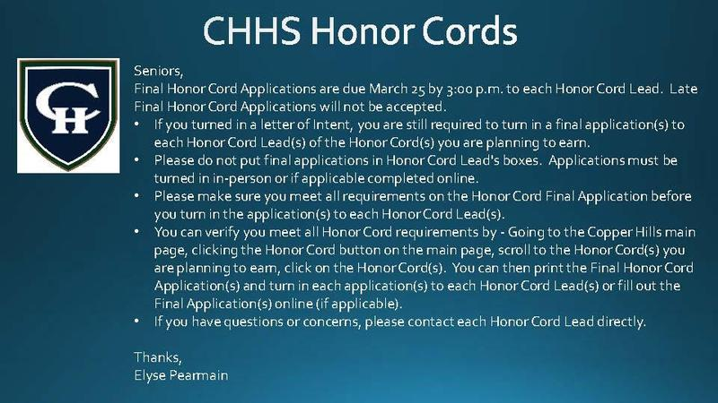 CHHS Honor Cord Deadline March 25th