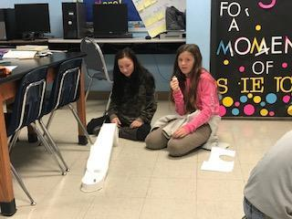 Students working on building an aqueduct.