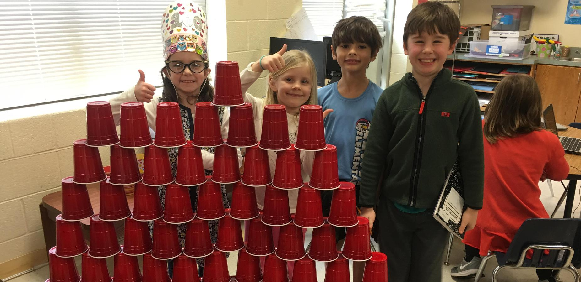 100th day student cup stacking activity