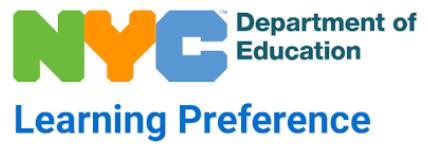 NYC Department of Ed Logo and learning preference written in blue