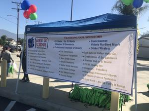 Students attending a Back to School Resource Fair at El Monte City School District's Shirpser School received packs loaded with tools for success and a few surprises thanks to donors such as City Councilwoman Victoria Martinez Muela.