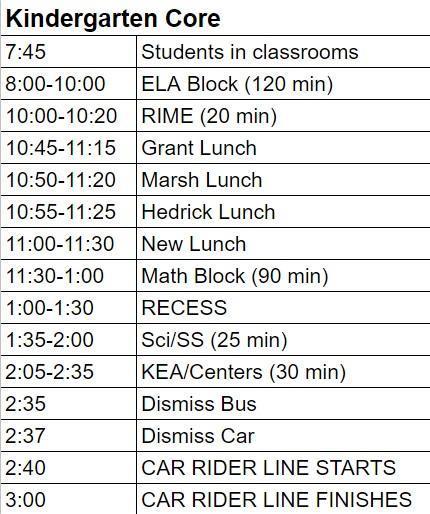 Kindergarten Core Schedule Image