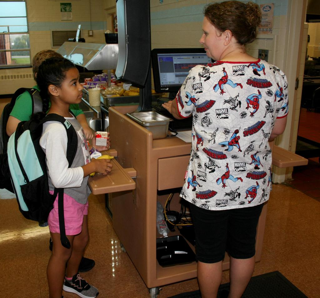 Students in the cafeteria line on the first day of school at Mt. Pleasant Elementary.