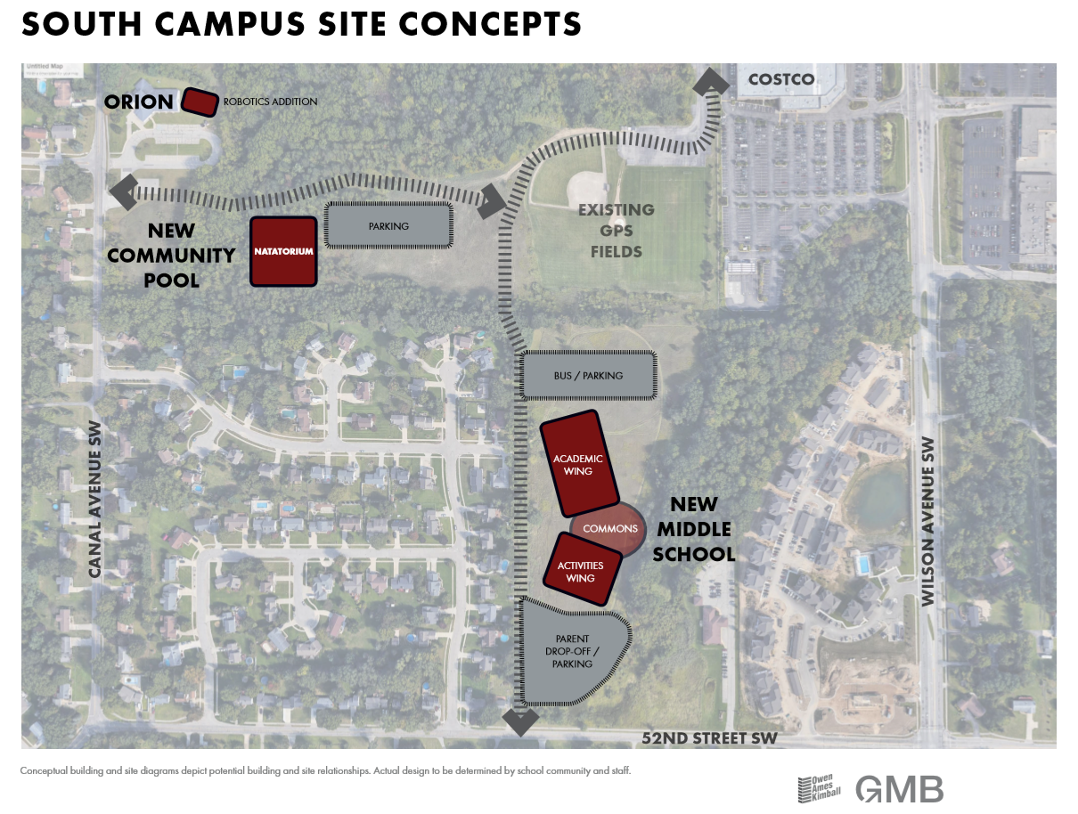 map of proposed construction near GHS