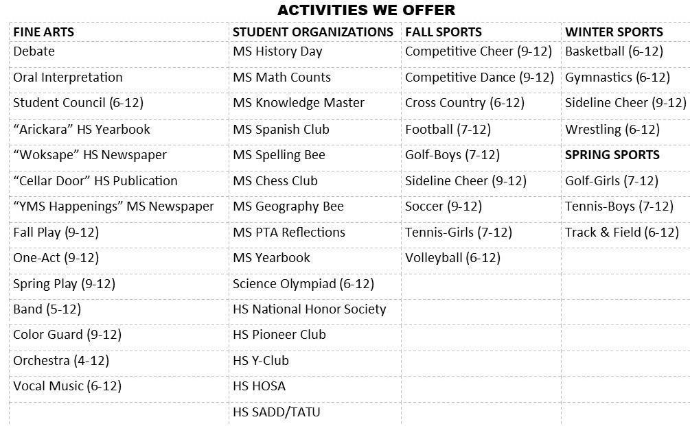 Activities We Offer
