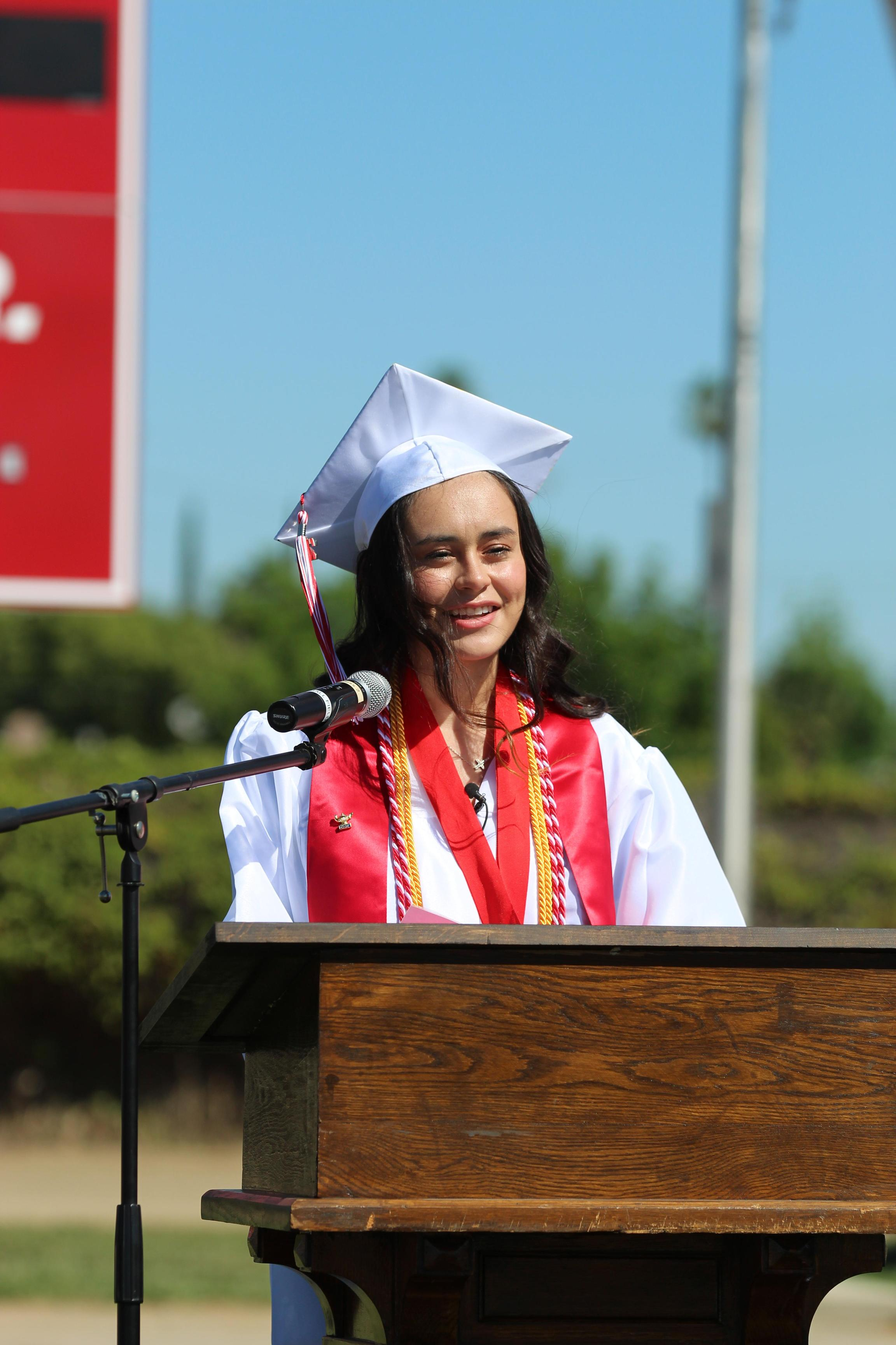 Salutatorian Andrea Jimenez speaking