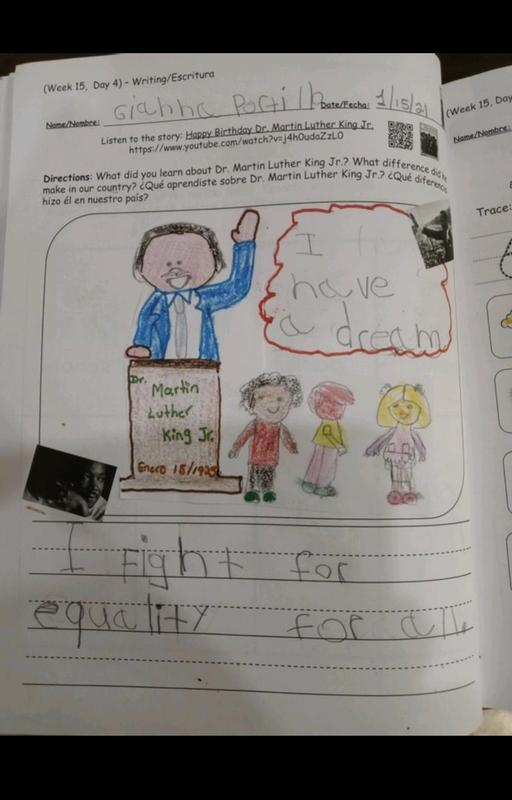 I have a dream speech drawing in workbook