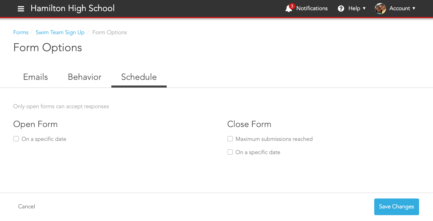 Schedule tab of Form Options
