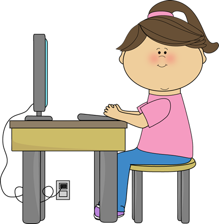 clip art of kid at computer