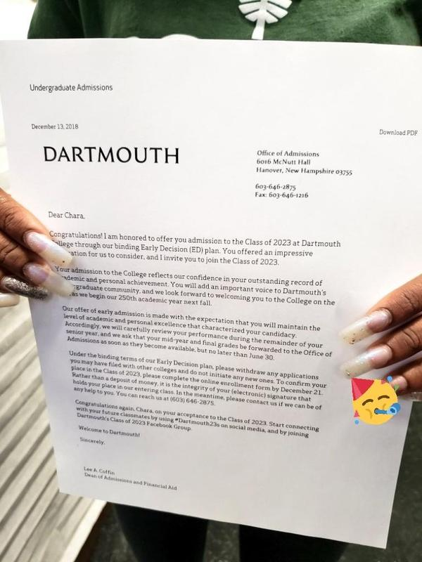 Close-up Dartmouth acceptance letter