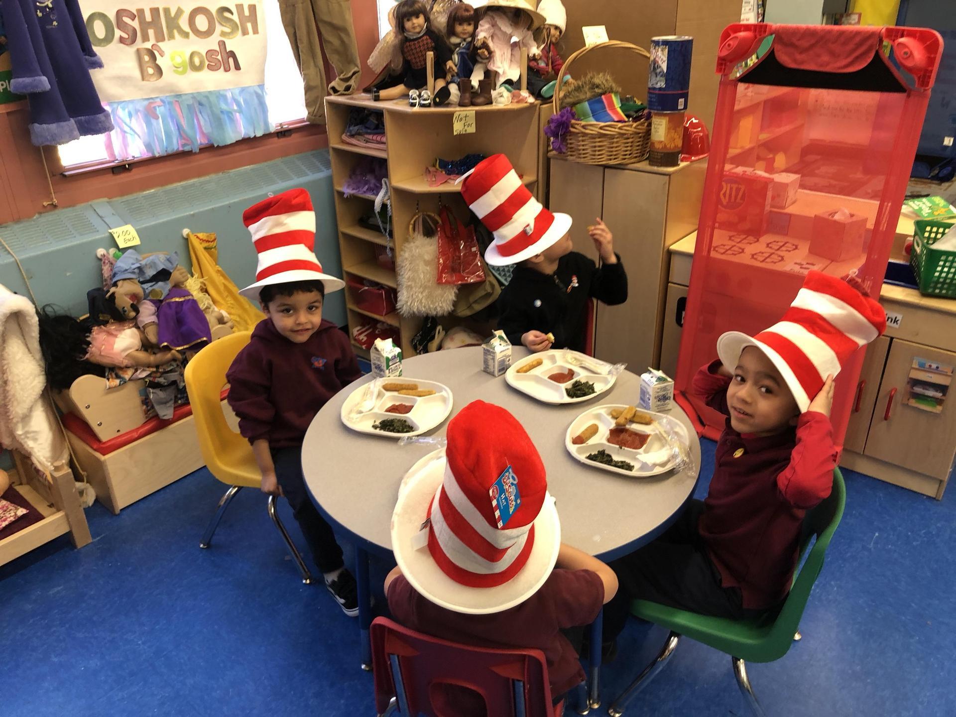 pre k students celebrating Crazy Hat Day