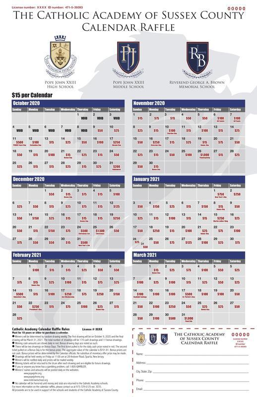 Calendar Raffle Proof
