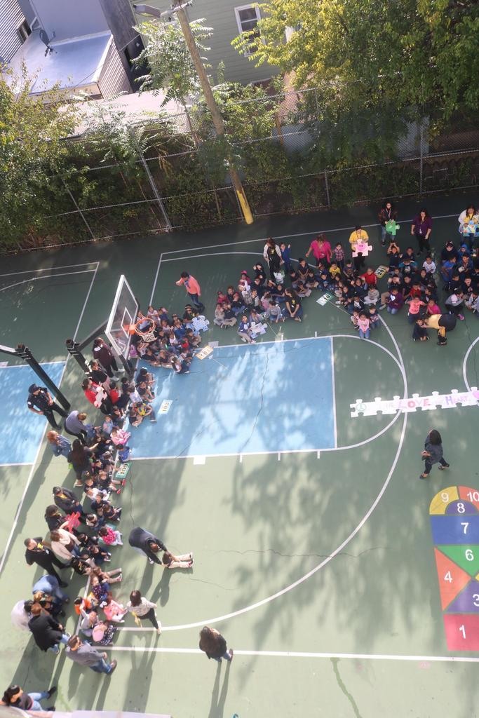 Jefferson students gathering outdoor by classes