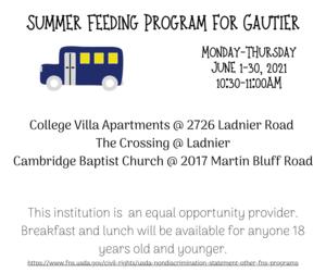 summer feeding for Gautier