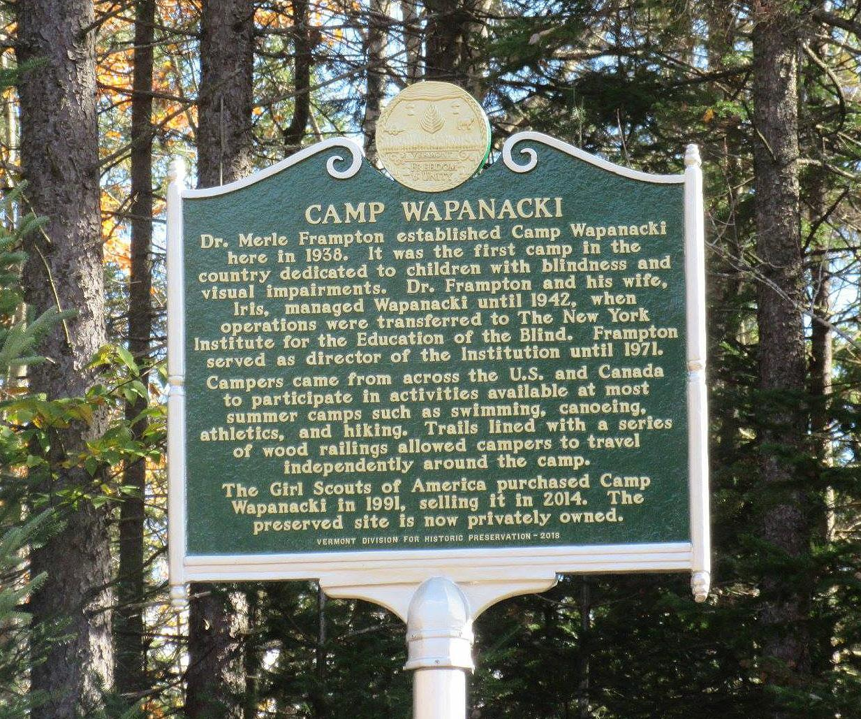 Newly installed Historical marker placed at Wapanacki in 2018