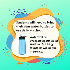 Students need to bring water bottles to use daily at school.