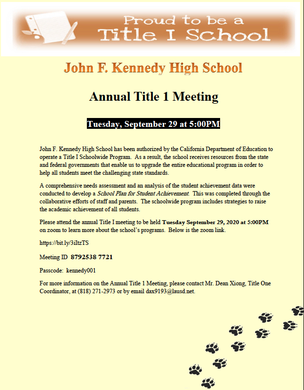 Annual Title 1 Meeting - Tuesday, September 29 Featured Photo