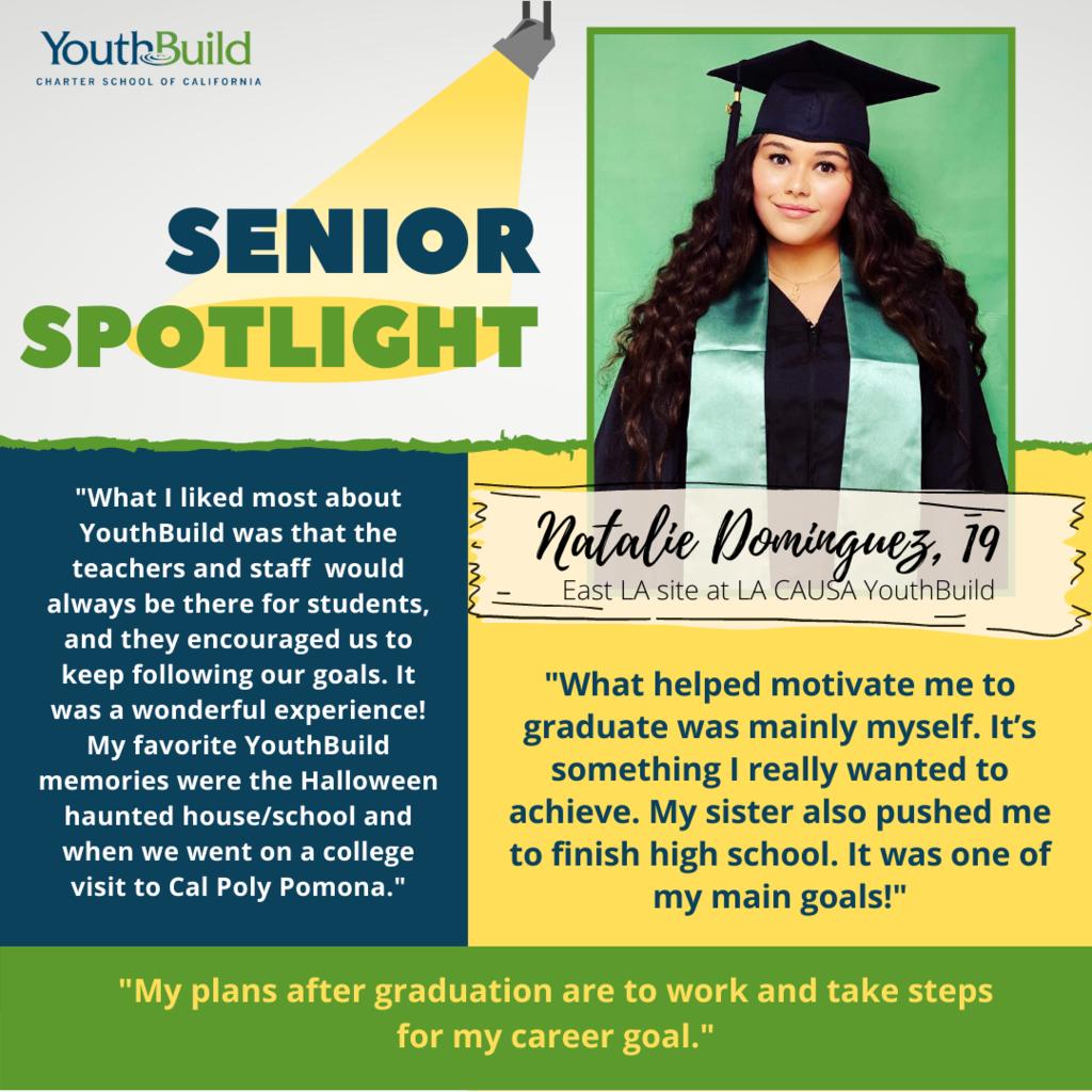 Senior Spotlight for graduate Natalie Dominguez