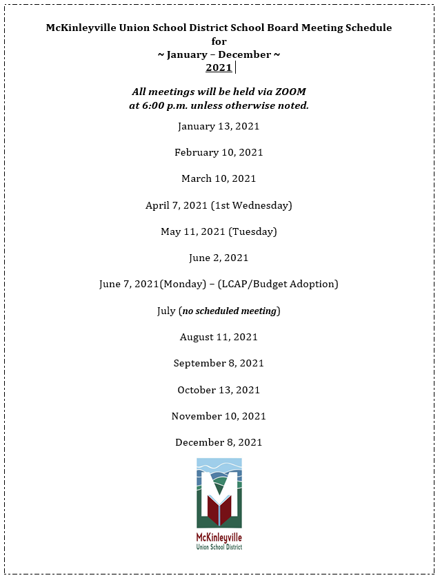 Board Meeting Schedule for 2020-2021