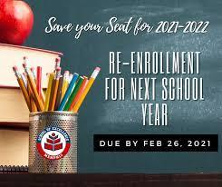Re-Enroll your student for next year! Deadline: Feb. 26th!