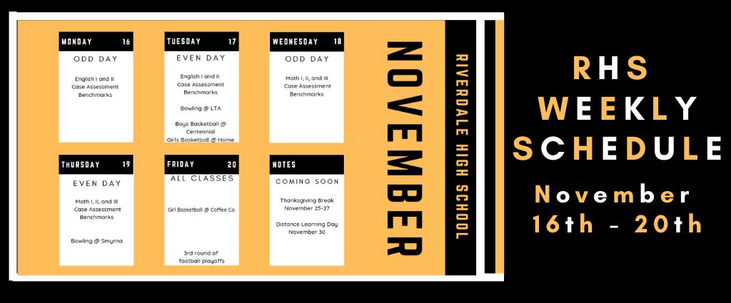 Weekly Schedule 11-16-20