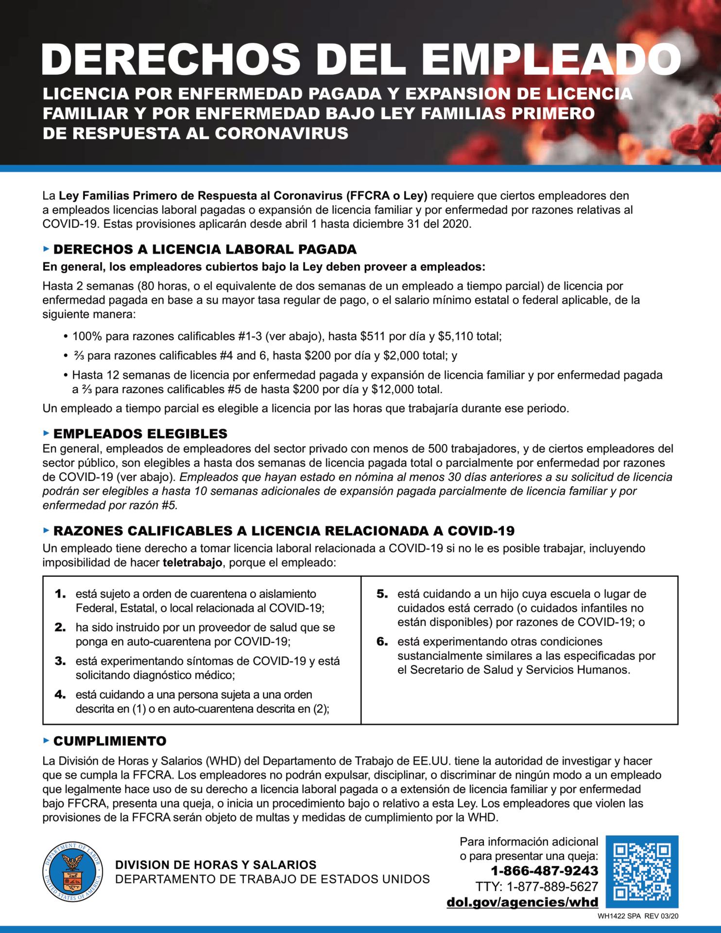 Derechos del empleado. licencia por enfermedad pagada y expansion de licencia familiar y por efermedad bajo ley familias primero de respuesta al corona virus