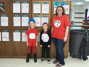 Students and staff dressed as Dr. Seuss characters.