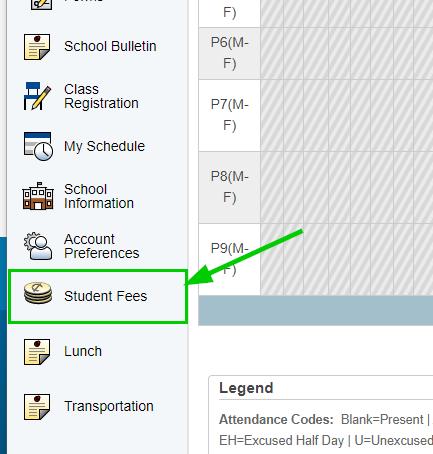 Student Fees link location
