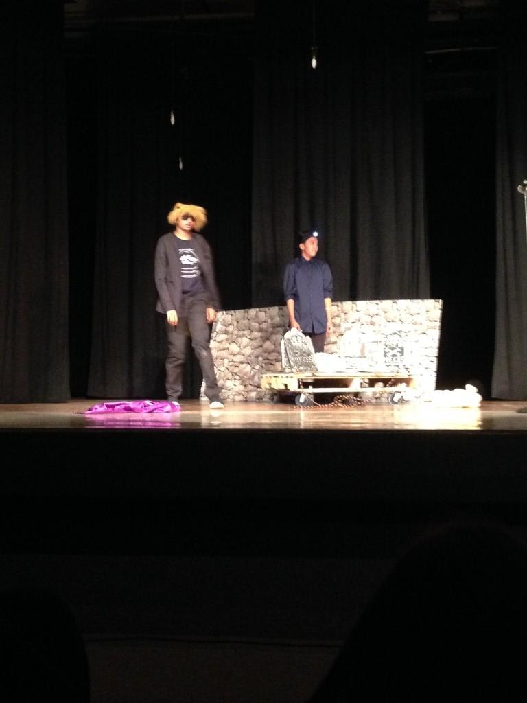 Two students during a play.