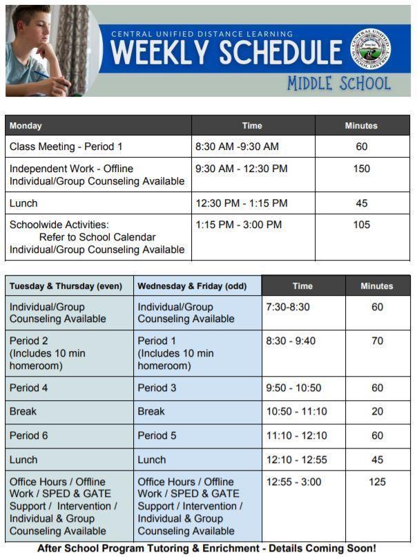 Middle School Weekly Schedule