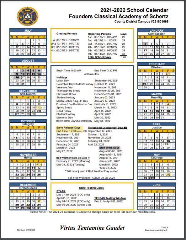 2021-22 School Calendar