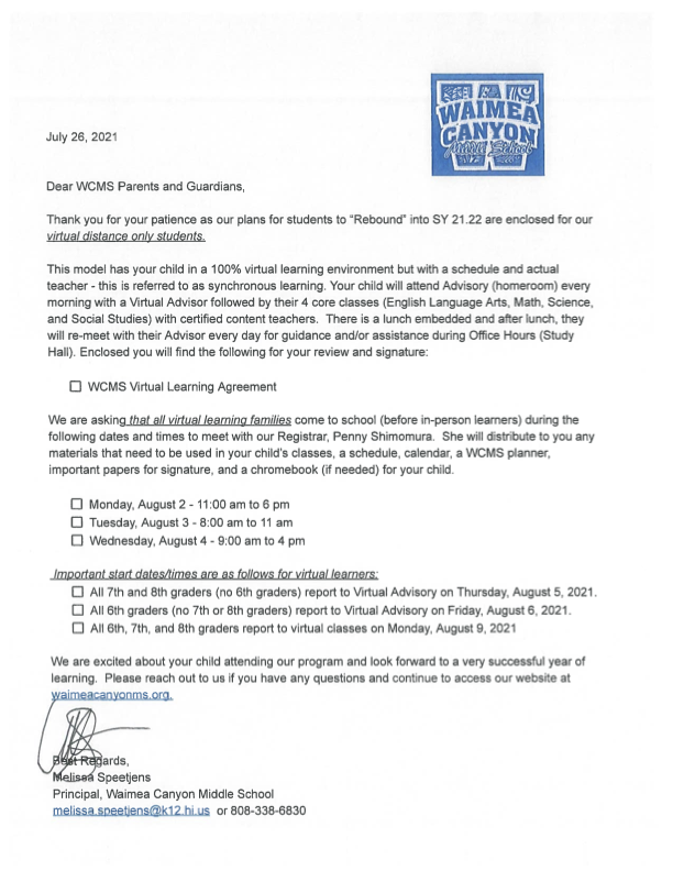 Parent Letter for Online Only Students Thumbnail Image