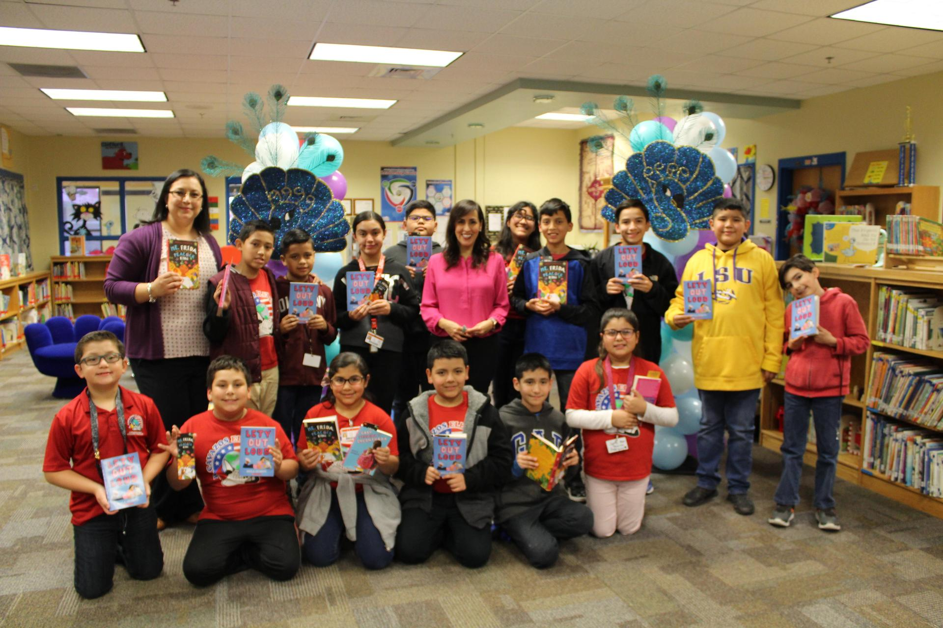 Cavazos students with author