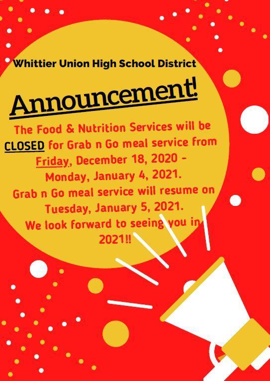 winter break food services