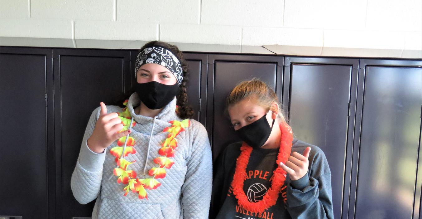 TKMS students take part in spirit week by dressing in Hawaiian fashions.