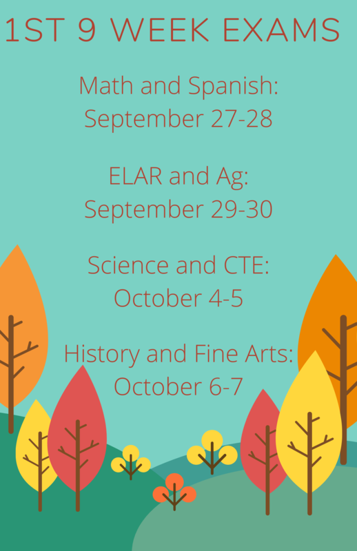 1st Nine Weeks Exams Schedule Featured Photo