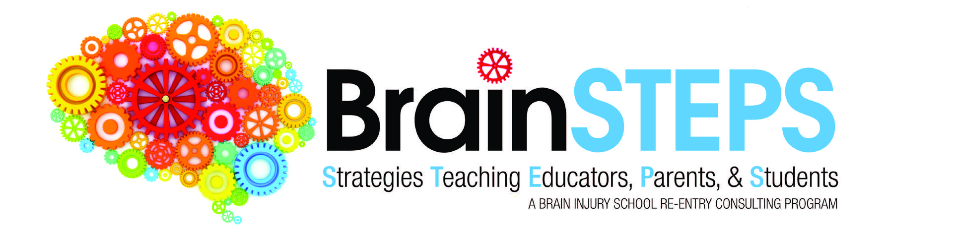 Brainsteps Team of Colorado Logo,  Illustration of Brain with gears on the inside