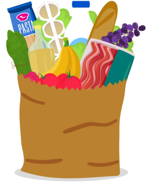 brown bag with fruits and veggies